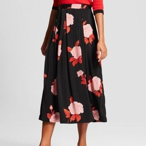 NWT Who What Wear Modern Rose Midi Skirt